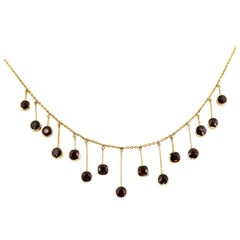 Antique Victorian 19th Century Garnet Fringe Necklace in 9ct Yellow Gold