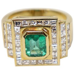 1.10 Carat Emerald Yellow Gold and Diamonds Wedding or Engagement Ring