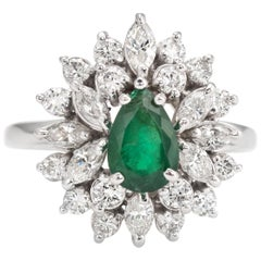 Vintage Diamond Emerald Ring Cluster Oval Cocktail 14 Karat White Gold Jewelry
