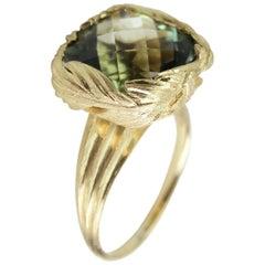 Cushion Cut Prasiolite & 18ct Yellow Gold Feather Ring