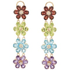 Estate Rainbow Semi Precious Gemstone Diamond Drop Earrings 14 Karat Yellow Gold