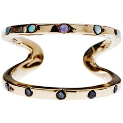 Black Diamond Opal Love Ring Gold J Dauphin