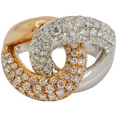 2.33 Carat 18 Karat Gold Diamond Interlocking Links Fashion Ring