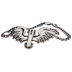 White Diamond Chain Link Bracelet Sterling Silver Eagle Animal Jewelry J Dauphin