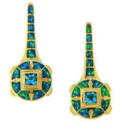 "1.00 Carat Blue Topaz and Australian Opal Inlay ""Ether"" Earrings"