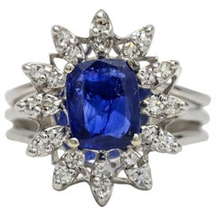 2.50 Carat 14 Karat White Gold Ceylon Blue Sapphire Diamond Dinner Ring