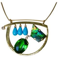 Michael Kneebone Turquoise Ammonite Moldavite Diamond Modernist Pendant