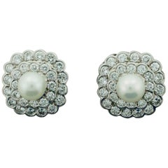 Diamond and Pearl Earrings in Platinum, circa 1950s