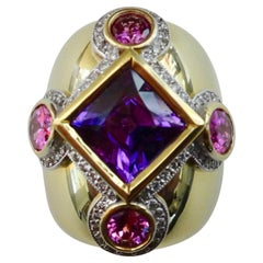 Michael Kneebone Purple Spinel Pink Spinel Pave Diamond Dome Ring