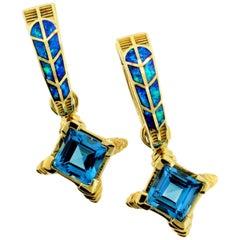 """6.00 Carat Blue Topaz and Australian Opal Inlay """"Hawk Feather"""" Earrings"""