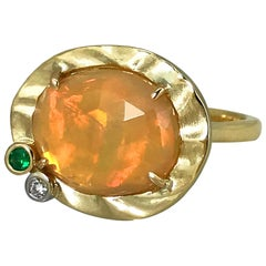 Orange Opal with Green Garnet and Diamond Accents 14 Karat Gold Cocktail Ring