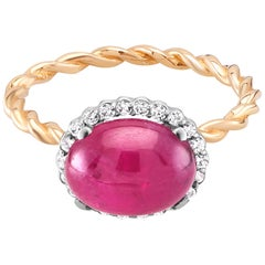 Cabochon Ruby and Diamond White and Rose Gold Cocktail Ring