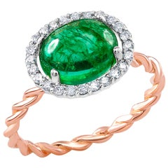 Cabochon Emerald and Diamond White and Rose Gold Cocktail Ring