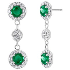 Emerald and Diamond Halo Drop Gold Earrings