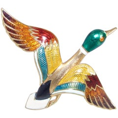 18 Karat Enameled Mallard Duck Brooch
