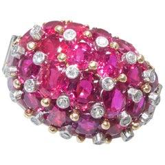 Burma Ruby and Diamond Ring, Retro, circa 1950