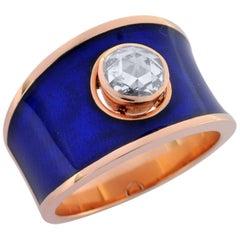 0.61 Carat Rosecut Diamond 18 Karat Rose Gold Enamel Plated Hafsa Ring