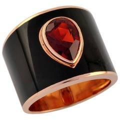 1.76 Carat Citrine Madena 18 Karat Rose Gold Enamel Plated Hafsa Ring