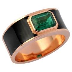 1.72 Carat Emerald 18 Karat Rose Gold Enamel Plated Hafsa Ring