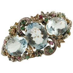 21,10 G Topas, Diamanten, Rubine, Smaragde, Saphire, Gold Silber Armband