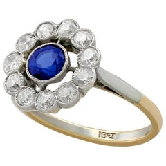 1930s Sapphire Diamond Yellow Gold Cluster Cocktail Ring