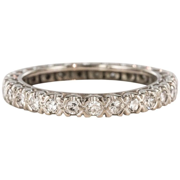 1950s Diamond Platinum Wedding Ring For Sale