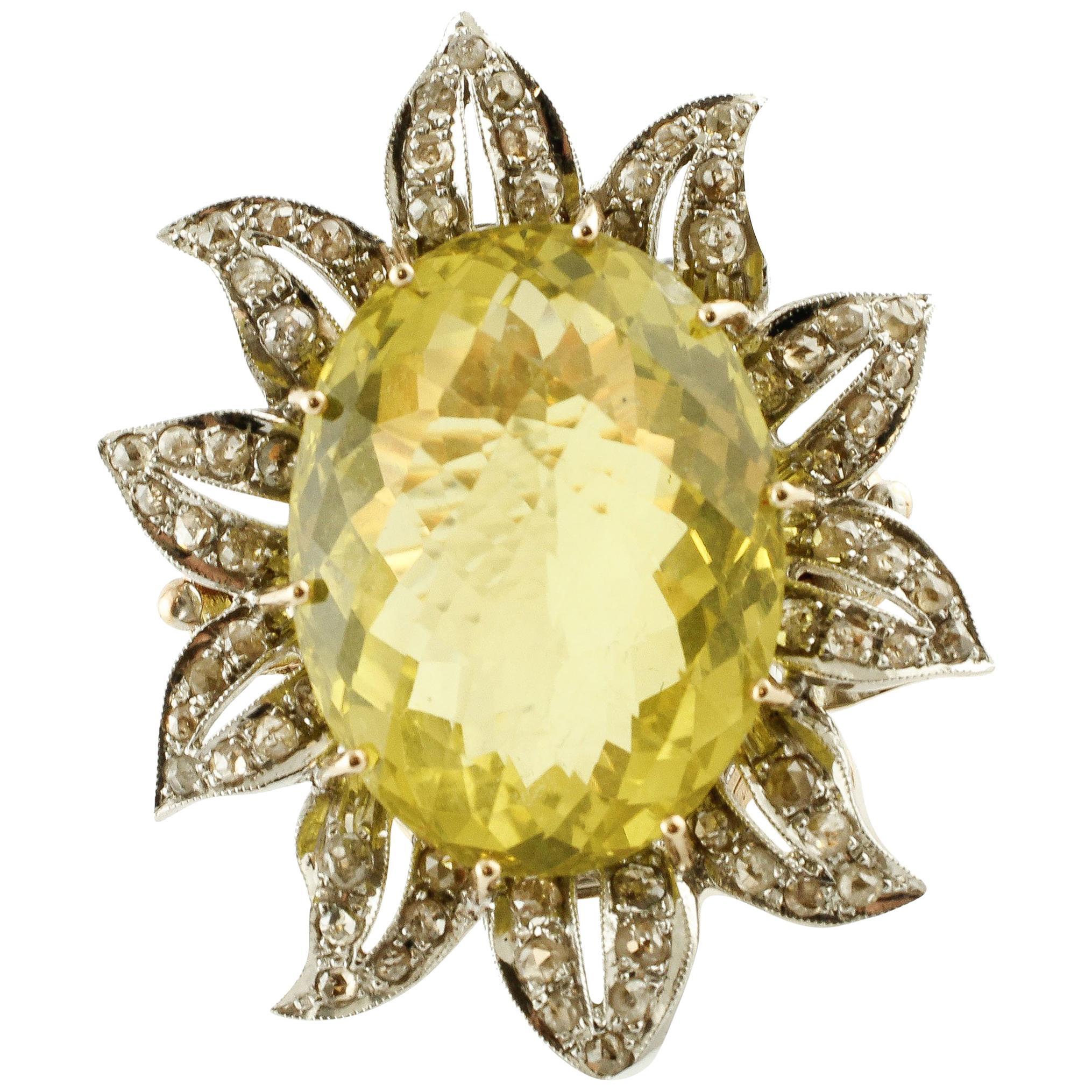 37.58 ct Lemon Citrine, 2.23 ct Diamonds,Rose Gold Silver Flower Fashion Ring
