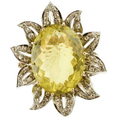37.58 ct Lemon Citrine, 2.23 ct Diamonds,Rose Gold Silver Flower Fashion Ring