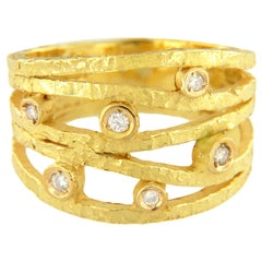 Sacchi Diamonds Gemsone 18 Karat Satin Yellow Gold Wire Band Ring