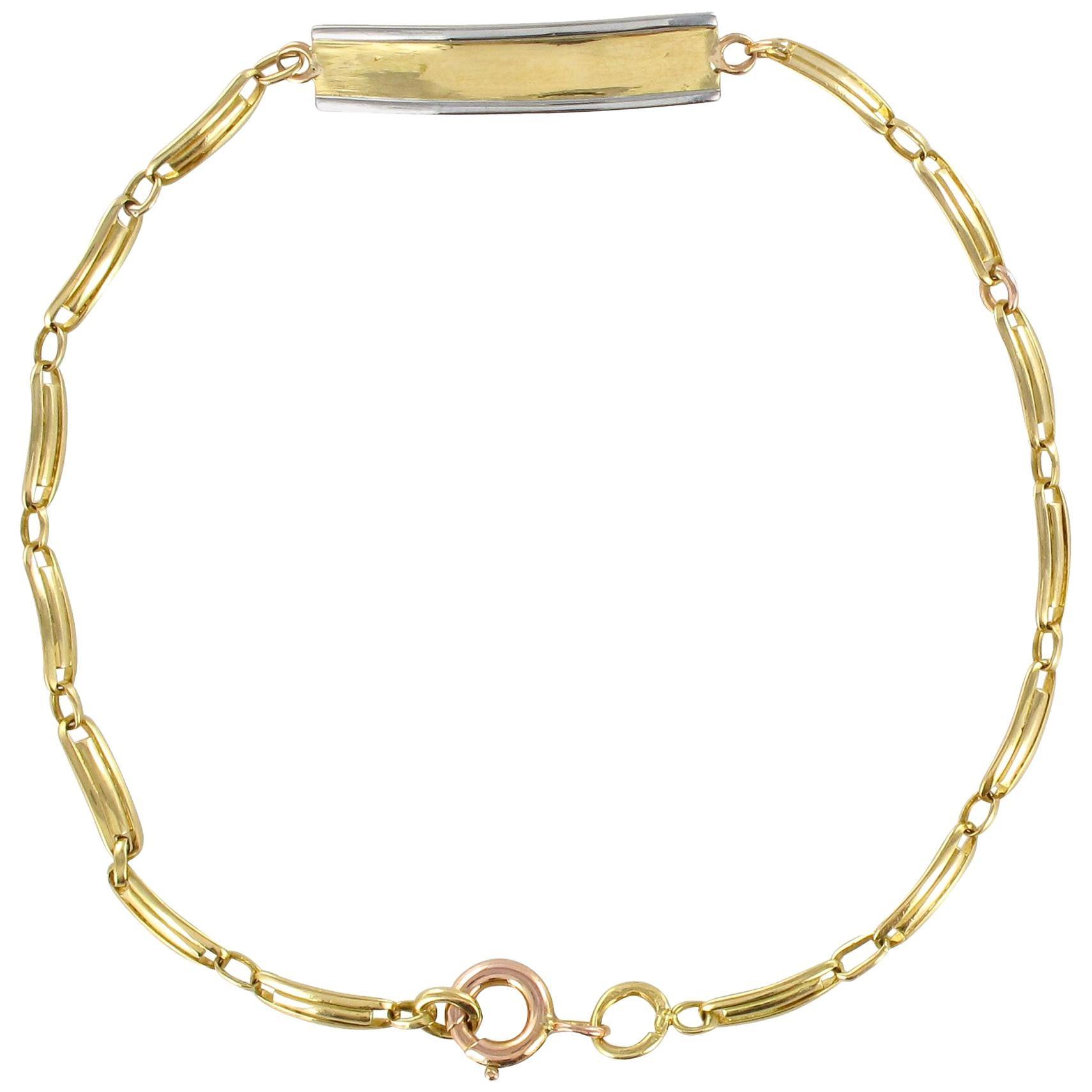 French 1900s 18 Karat Yellow Gold Baby Curb Bracelet