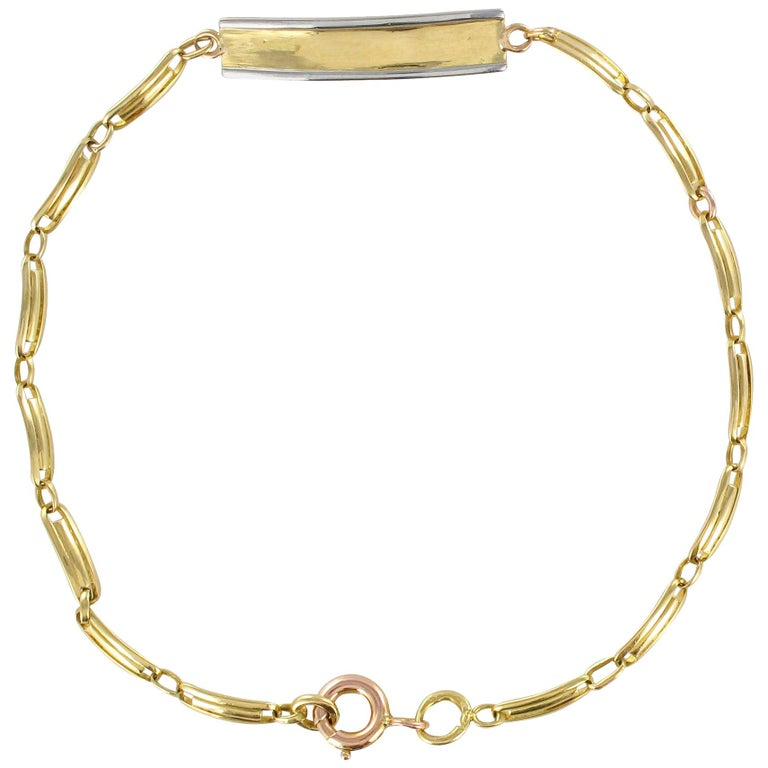French 1900s 18 Karat Yellow Gold Baby Curb Bracelet For Sale