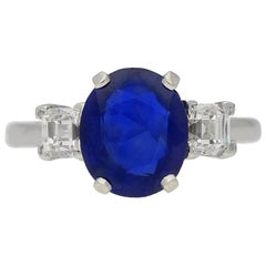 Vintage Burmese Sapphire and Diamond Engagement Ring, circa 1950