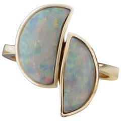 Yellow Gold and Classic Australian Opal Cocktail Ring