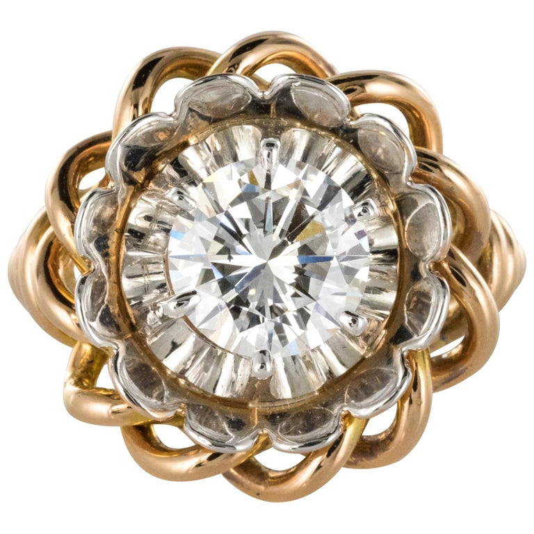 1960s Retro 2.06 Carat Diamond Solitary Ring For Sale