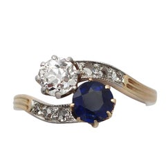 Antique circa 1910 Sapphire Diamond Yellow Gold Twist Ring