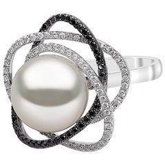 Yoko London South Sea Pearl Ring with Black and White Diamonds, in 18 Karat Gold