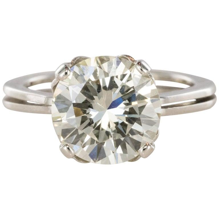 1950s Retro 3.20 Carat Diamond White Gold Solitary Ring For Sale