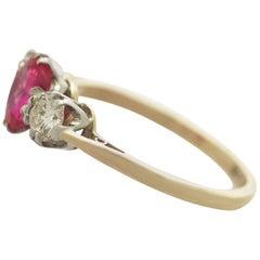 1960s Ruby Diamond Yellow Gold Three-Stone Ring