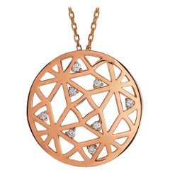 Monseo Diamond Rose Gold Circle Pendant Necklace