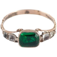 Antique Green Clear Paste Gold Ring
