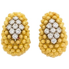 Italian 18 Karat Yellow Gold Diamond Clip-On Earrings