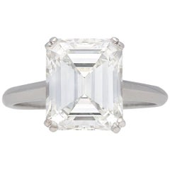 Vintage Emerald-Cut Diamond Solitaire Diamond Ring, circa 1950