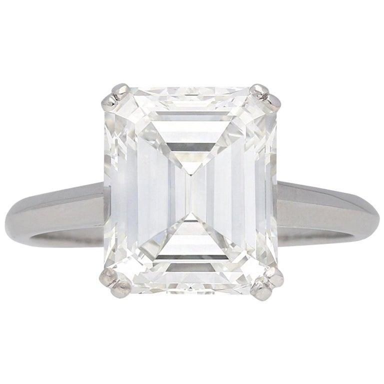 Vintage Emerald-Cut Diamond Solitaire Diamond Ring, circa 1950 For Sale