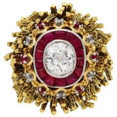 Vintage Diamond and Ruby Ring by Sterlé, circa 1950