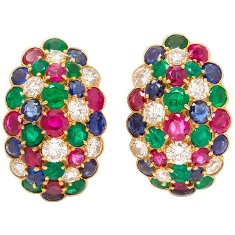 Van Cleef & Arpels Yellow Gold Diamond Ruby Sapphire and Emerald Earclips For Sale