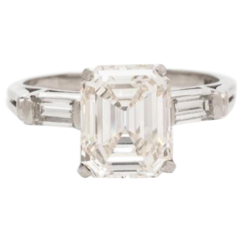 Platinum Emerald Cut Diamond Ring 2.84 Carat