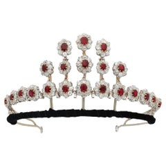 Pigeon's Blood Burmese Ruby and Diamond Necklace/Tiara, circa 1915