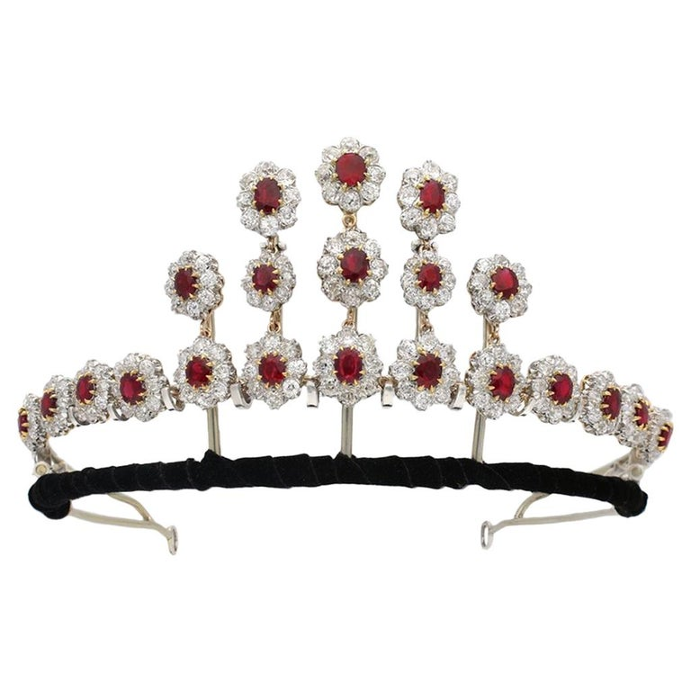 Ruby and diamond tiara/necklace, ca. 1915, offered by Berganza