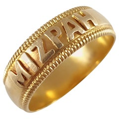 Antique Victorian 18 Karat Yellow Gold Mizpah Band Ring Birmingham, 1894