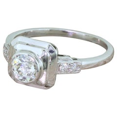 Art Deco 0.60 Carat Old Cut Diamond Platinum Solitaire Ring